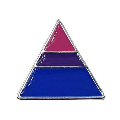Bisexual Flag Silver Plated Triangle Pin Badge