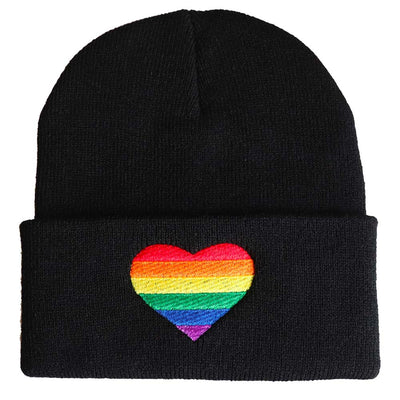 Embroidered Rainbow Heart Beanie Hat - Black