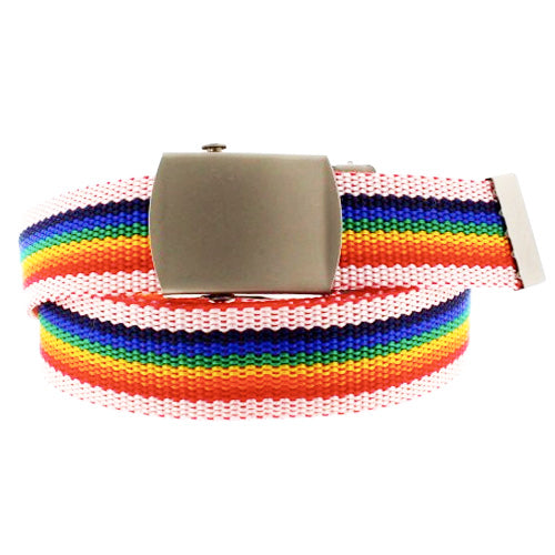 Gay Pride Rainbow Canvas Belt (With White Edges)
