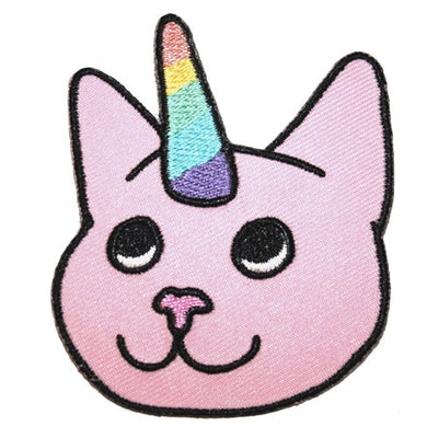Cat Unicorn Embroidered Iron-On Patch