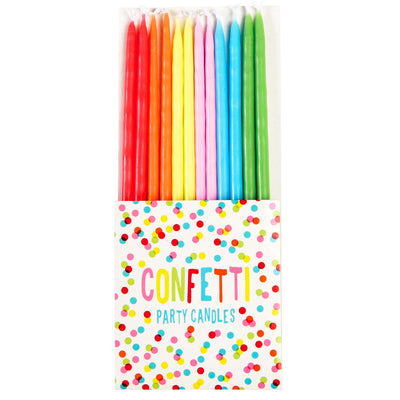 Confetti Rainbow Party Candles (12 Pack)