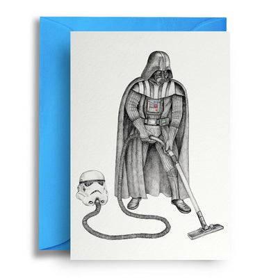 Darth Vader Hoovering - Greetings Card