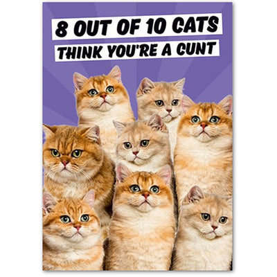8 Out Of 10 Cats Think You're A C*nt  - Gay Birthday Card