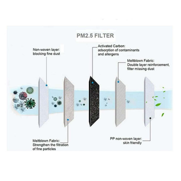 PM2.5 Activated Carbon Face Mask Filters (10 Pack)