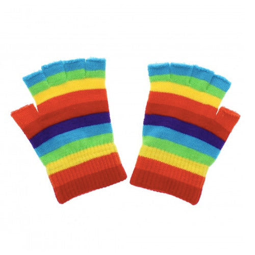 Gay Pride Rainbow Fingerless Gloves