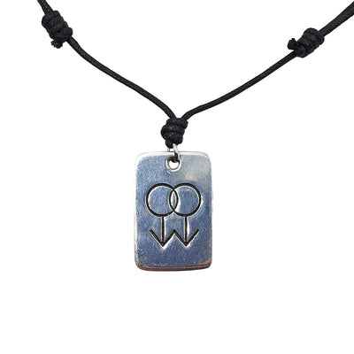 Gay Double Mars Symbol Pewter Charm & Cord Necklace