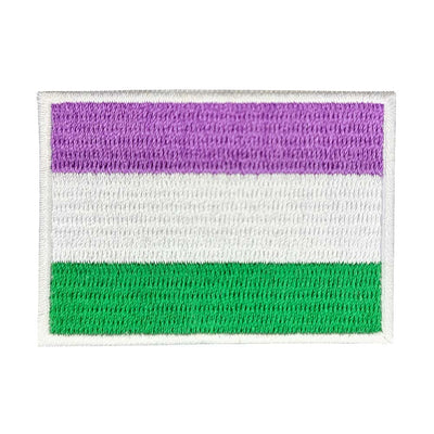 Genderqueer Flag Rectangular Embroidered Iron-On Patch