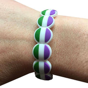 Genderqueer Flag Colours Adjustable Silicone Bracelet