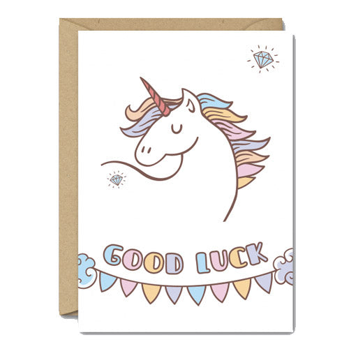 Good Luck - Gay Unicorn Greetings Card