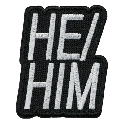 Pronoun He/Him Embroidered Iron-On Patch