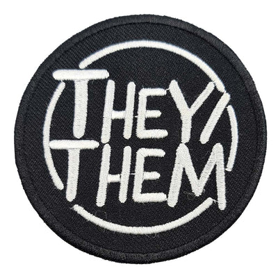 Pronoun They/Them Circular Embroidered Iron-On Patch