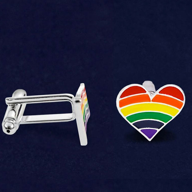 Gay Pride Rainbow Flag Silver Plated Heart Cufflinks