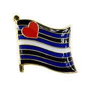 Leather Pride Flag Gold Enamel Waving Flag Pin Badge