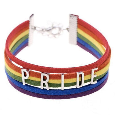 Gay Pride Rainbow Leather Strap Bracelet