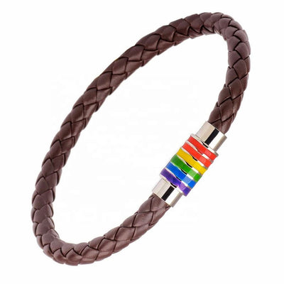 Gay Pride Rainbow Magnetic Bracelet (Brown Leather/Silver Clasp)