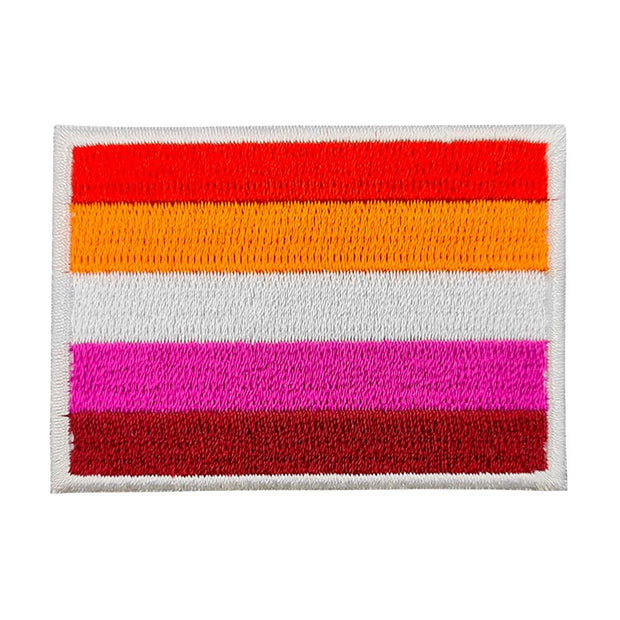 Lesbian Flag (New 5 Colour) Rectangular Embroidered Iron-On Patch