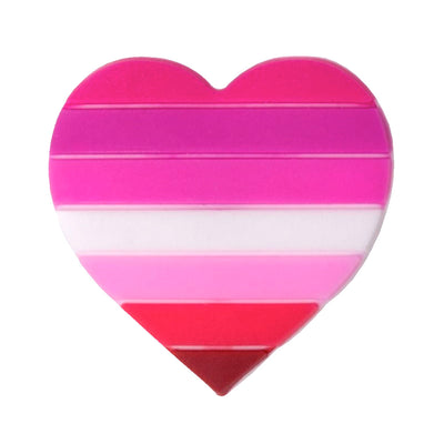 Lesbian Flag Silicone Heart Pin Badge