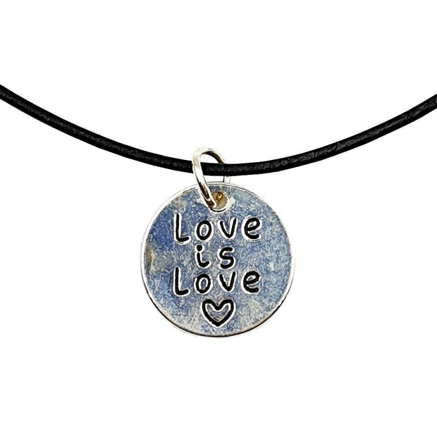 Love Is Love Silver Plated Circle Charm Necklace