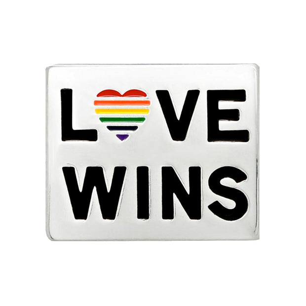 Gay Pride Rainbow LOVE WINS Silver Plated Pin Badge