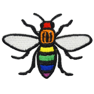 Gay Pride Rainbow Manchester Bee Embroidered Iron-On Patch