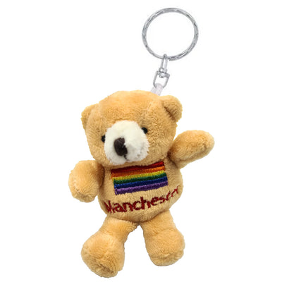 Teddy Bear Keyring - Manchester Gay Pride Rainbow Flag