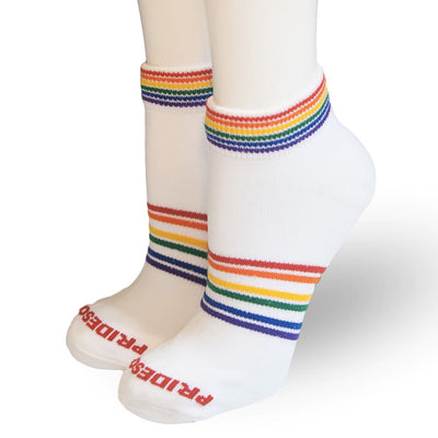 Pride Socks - Mighty Rainbow Athletic Socks White