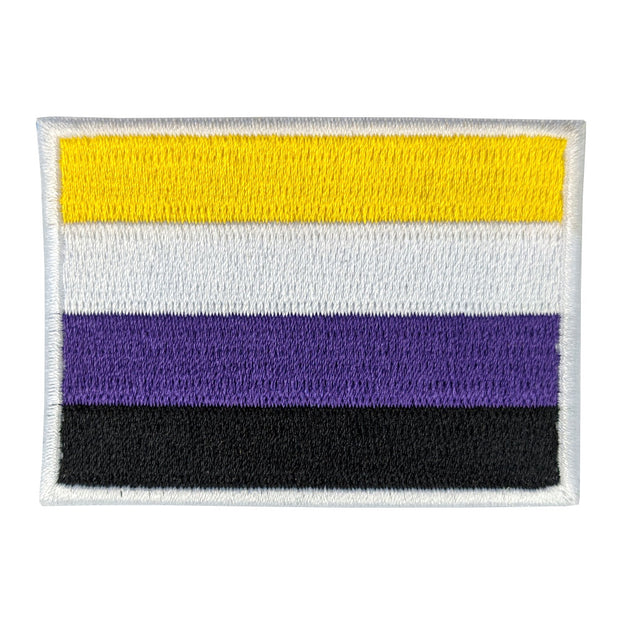 Non Binary Flag Rectangular Embroidered Iron-On Patch