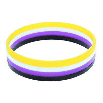 Non-Binary Flag Colours Silicone Wristband Large