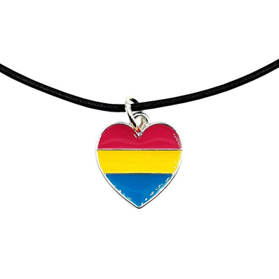 Pansexual Flag Silver Plated Heart Charm Necklace