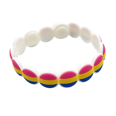 Pansexual Flag Colours Adjustable Silicone Bracelet