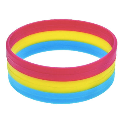 Pansexual Flag Colours Silicone Wristband Large