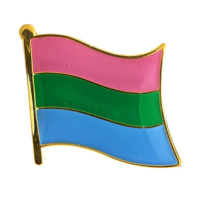 Polysexual Flag Gold Enamel Waving Flag Pin Badge