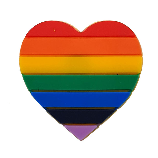 Gay Pride Rainbow Silicone Heart Pin Badge