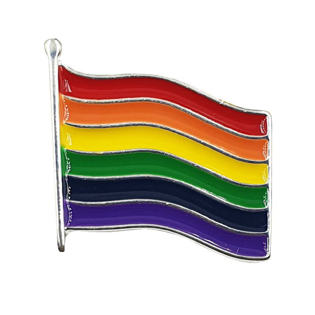 Gay Pride Rainbow Flag Silver Plated Blowing Flag Badge