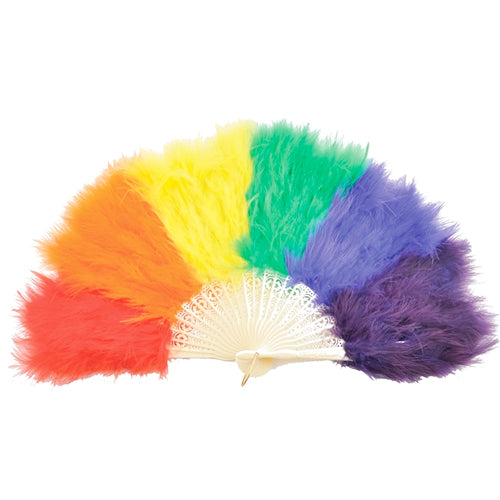Gay Pride Rainbow Plastic & Feather Fan