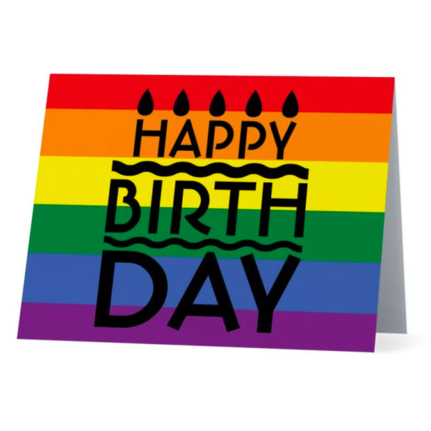 Flag Card Rainbow Happy Birthday Pride Flag - Greetings Card