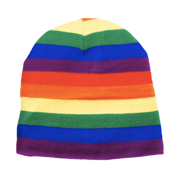 Gay Pride Rainbow Knitted Beanie Hat