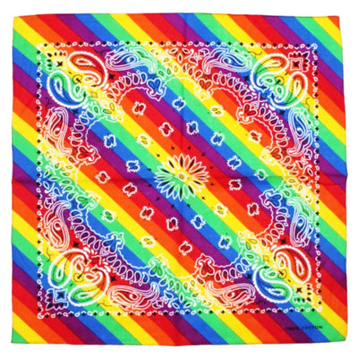 Gay Pride Rainbow Flag Cotton Bandana (Paisley Pattern)