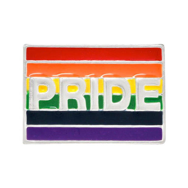 Gay Pride Rainbow Flag Silver Plated Pin Badge (With Embossed PRIDE)