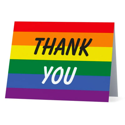 Flag Card Rainbow Thank You Pride Flag - Greetings Card