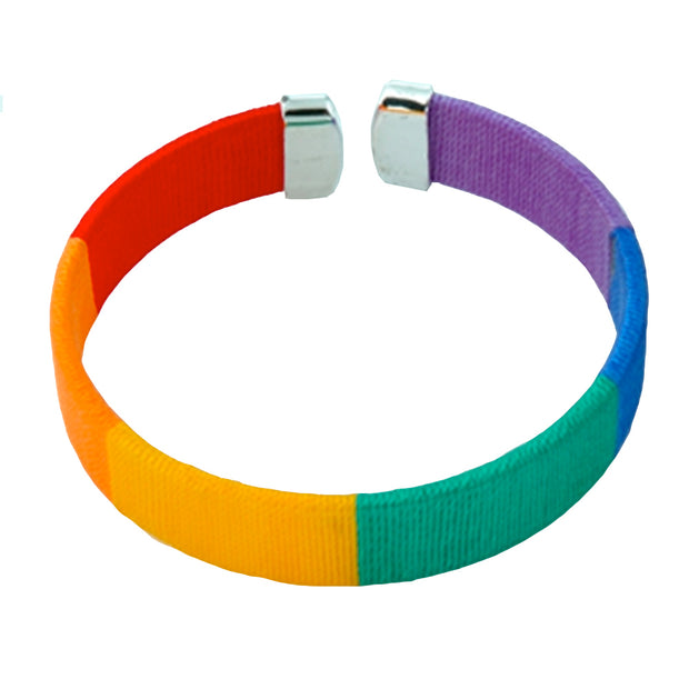 Gay Pride Rainbow Weaved Threads Bracelet (Rainbow)