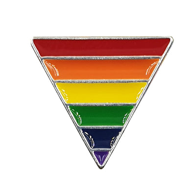 Gay Pride Rainbow Flag Silver Plated Triangle Badge