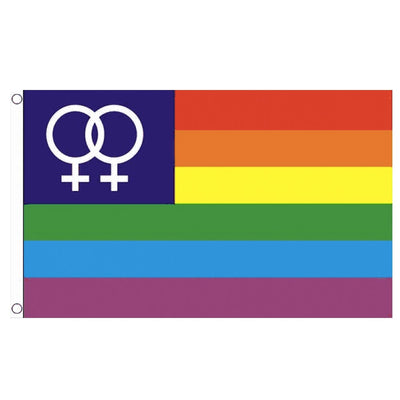 Gay Pride Rainbow Double Venus Symbol Flag (5ft x 3ft Premium)