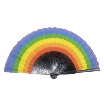Gay Pride Rainbow Wooden & Cloth Hand Fan