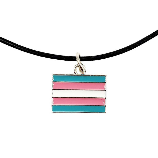 Transgender Flag Silver Plated Rectangle Charm Necklace