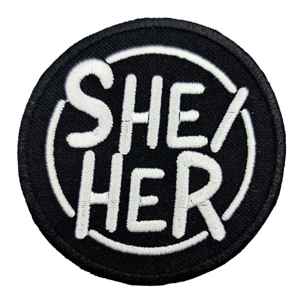 Pronoun She/Her Circular Embroidered Iron-On Patch