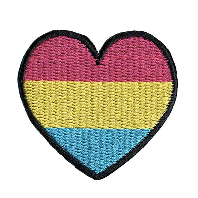 Pansexual Heart Embroidered Iron-On Patch (Small)