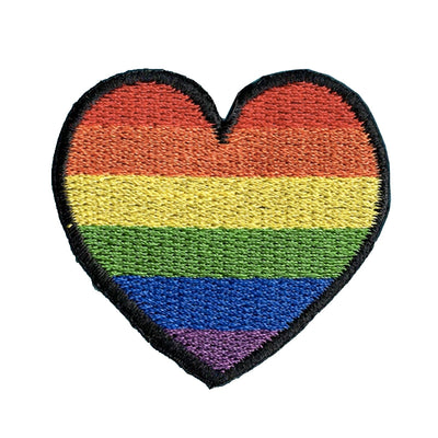 LGBTQ+ Rainbow Heart Embroidered Iron-On Patch (Small)