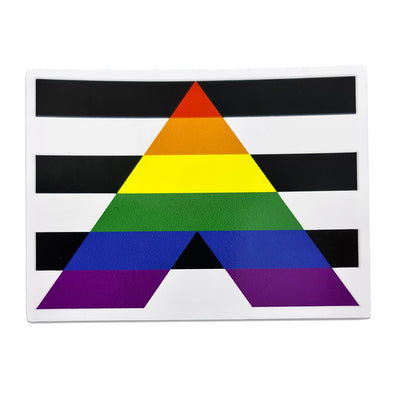 Straight Ally Flag Rectangle Vinyl Waterproof Sticker