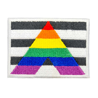 Straight Ally Flag Rectangular Embroidered Iron-On Patch
